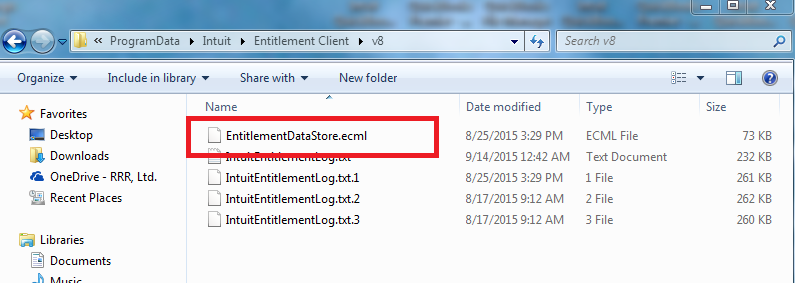 Delete the 'EntitlementDataStore.ecml' file - Screenshot