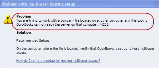 Intuit QuickBooks Error Message H202 - Screenshot