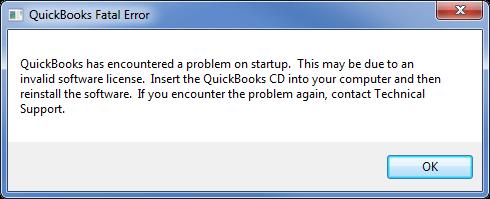 QuickBooks Error 3371 status code 11118 - Screenshot