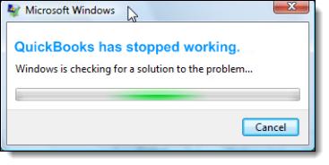 QuickBooks Has Stopped Working Error - Screenshot