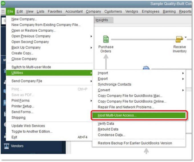 Verify hosting in QuickBooks - Screenshot