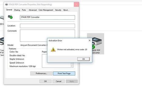 QuickBooks Error Code 20 - Printer Not Activated (Screenshot)