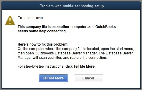 QuickBooks Error Message H202 - Screenshot