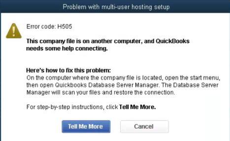 QuickBooks error message H505 - Screenshot