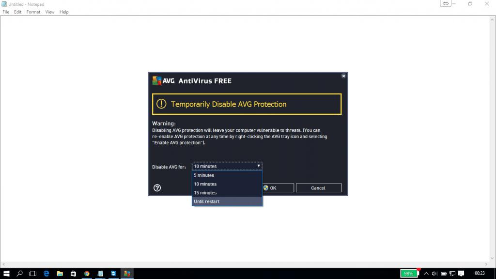 Turn off Antivirus temporarily - Screenshot