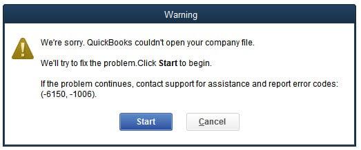 QuickBooks Error Message 6150 -1006 - Screenshot