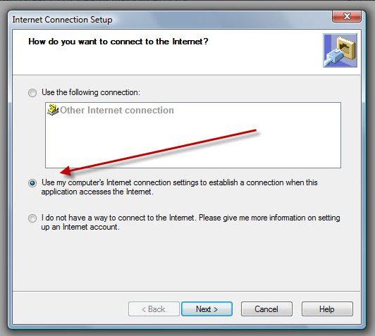 Internet Connection Setup - Screenshot