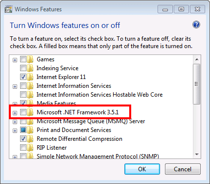 Check .NET Framework 3.5 - Screenshot