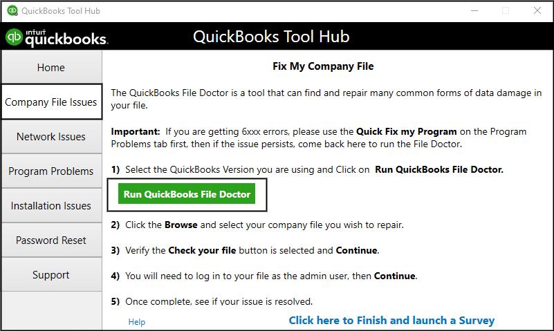 QuickBooks File Doctor - Screenshot